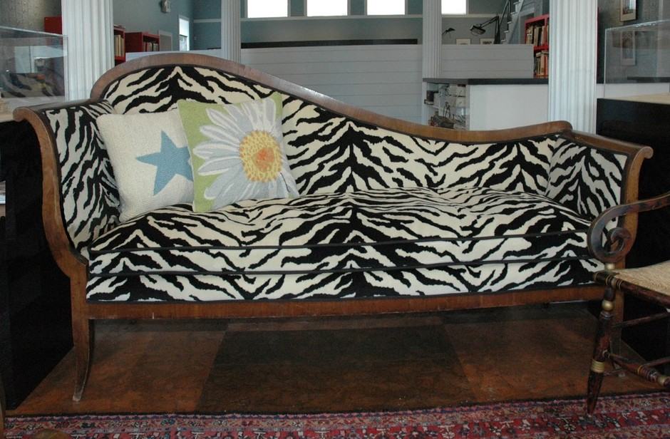 A well loved family sofa re-invented as a fun focal point
